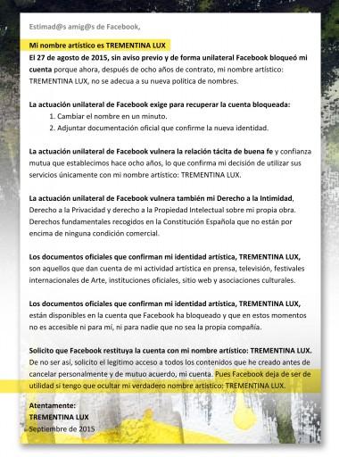 COMUNICADO OFICIAL SOBRE EL BLOQUEO DE LA CUENTA DE TREMENTINA LUX EN FACEBOOK